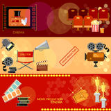Cinema festival movie banners. Cinema festival movie design elements clapper popcorn awards ceremony banners Royalty Free Stock Image