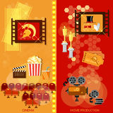 Cinema festival movie design elements awards ceremony. Clapper popcorn banners Royalty Free Stock Image