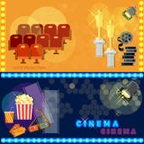 Cinema festival movie poster template tickets popcorn. Soda filmstrip awards concept banners Stock Photography