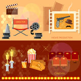 Cinema festival movie theater entrance tickets. Clapper popcorn 3D glasses awards ceremony banners Stock Photo