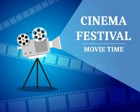 Cinema Festival. Movie time invitation poster with film projector. Cinematography concept. Vector illustration Stock Photo
