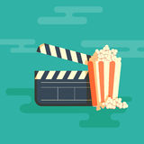 Cinema festival poster. With a bag of popcorn and a black cinema clapper board silhouette in center and attributes of film industry vector illustration Stock Photos