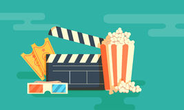 Cinema festival poster. With a bag of popcorn and a black cinema clapper board silhouette in center and attributes of film industry vector illustration Stock Images