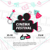 Cinema Festival Poster. With camcorder silhouette in center and attributes of film industry vector illustration Stock Image