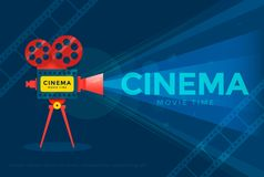 Cinema festival poster. Cinema festival or movie time poster template. Vector illustration Royalty Free Stock Images