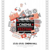 Cinema Festival Poster. With filmmaking business and entertainment equipment vector illustration Royalty Free Stock Images