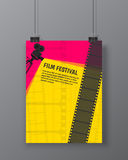 Cinema festival poster or flyer template for your design. Vector. Illustration Royalty Free Stock Images