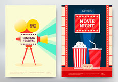 Cinema festival poster. Cinema festival and movie night poster template. Vector illustration Stock Images