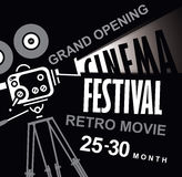 Cinema festival poster with old fashioned camera. Vector cinema festival poster with old fashioned movie camera. Movie background with words retro movie grand Stock Photography