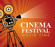 Cinema festival poster with old movie camera. Vector cinema festival poster with old fashioned movie camera. Red movie background with words movie time. Can used Royalty Free Stock Photo