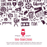 Cinema festival poster with seamless pattern on background with attributes of film industry. Cinematography design items. Camera, film tape, popcorn, chair Royalty Free Stock Photography