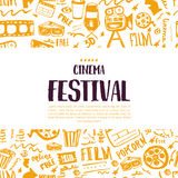 Cinema festival poster with seamless pattern on background with attributes of film industry. Cinematography design items. Camera, film tape, popcorn, chair Stock Photo