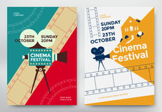 Cinema festival poster. Template with camcorder and line videotape. Vector illustration Stock Image