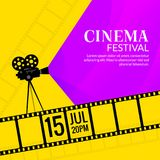 Cinema festival poster template. Film or movie flyer festival design background.  Royalty Free Stock Photo