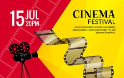 Cinema festival poster template. Vector camcorder and line videotape illustration. Movie festival art background.  Stock Photography