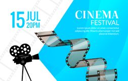 Cinema festival poster template. Vector camcorder and line videotape illustration. Movie festival art background.  Stock Image