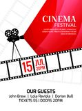 Cinema festival poster template. Vector camcorder and line videotape illustration. Movie festival art background.  Royalty Free Stock Images