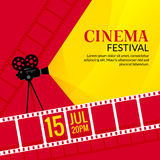 Cinema festival poster template. Vector camcorder and line videotape illustration. Movie festival art background Royalty Free Stock Images