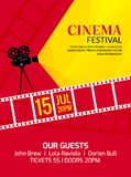 Cinema festival poster template. Vector camcorder and line videotape illustration. Movie festival art background.  Royalty Free Stock Photography