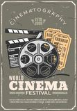 Cinema festival retro poster, film and tickets royalty free illustration