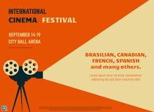 Cinema festival retro poster. Retro style international movie festival poster template. Orange background and black colors. Film festival poster. Movie theater Stock Image