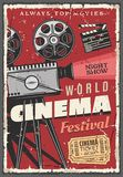 Cinema festival retro poster, vintage camcorder vector illustration