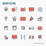Cinema festival thin line icons set. Related to film. Vector illustration Royalty Free Stock Photography