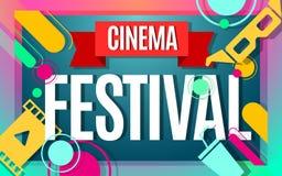 Cinema festival vector color banner. Cinema festival banner color design. Vector illustration template in modern style Stock Photography