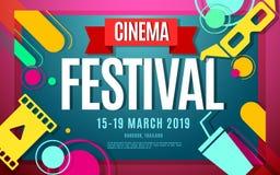 Cinema festival vector color banner. Cinema festival banner color design with text. Vector illustration template in modern style Royalty Free Stock Photos
