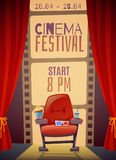 Cinema Festival Vertical Poster. With curtain, armchair with food, 3d glasses on film strip background vector illustration Royalty Free Stock Photo