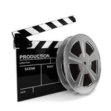 Cinema film and clap board. 3d illustration  on white background Stock Image
