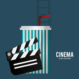 Cinema film clapper soda with straw. Vector illustration eps 10 Royalty Free Stock Images