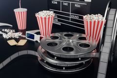 Cinema film concpet with popcorn, 3d glasses, filmstrip, clapperboard movie reel and two tickets. Film movie black. Background. 3D illustration stock illustration
