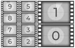 Cinema film countdown. Old movie films strip frame, vintage intro screen counting numbers or retro timer frames vector royalty free illustration