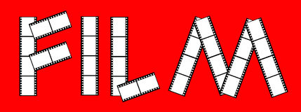 Cinema film frames. Illustration of movie film frames spelling word; red background Stock Photo