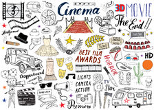Cinema and Film Industry Set. Hand Drawn Sketch, Vector Illustration. Cinema and Film Industry Set. Hand Drawn Sketch, Vector Illustration Stock Photos