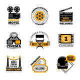 Cinema And Film Labels. With director chair 3d glasses cinema tickets projector flat signs  vector illustration Royalty Free Stock Photo