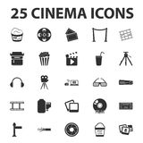 Cinema, film, media 25 black simple icons set for web Royalty Free Stock Images