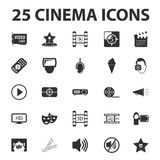 Cinema, film, media 25 black simple icons set for web Stock Photography