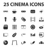 Cinema, film, media 25 black simple icons set for web Royalty Free Stock Photos