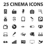 Cinema, film, media 25 black simple icons set for web Stock Photo