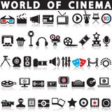 Cinema, film and movie icons. Vector icon set royalty free illustration