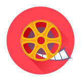 Cinema film movie reel icon. Flat illustration Stock Photo