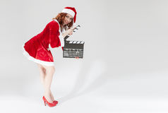 Cinema and Film Production Concept and Ideas. Happy Smiling Fema Stock Photo