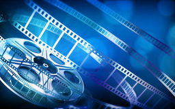 Cinema film reel. (blue colors stock illustration
