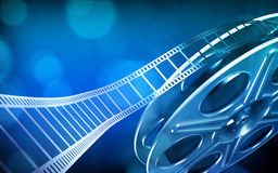 Cinema film reel. (blue colors royalty free illustration