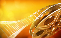Cinema film reel. (gold colors royalty free illustration