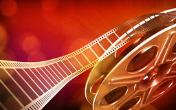 Cinema film reel. (red colors vector illustration