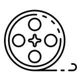 Cinema film reel icon, outline style. Cinema film reel icon. Outline cinema film reel vector icon for web design isolated on white background stock illustration