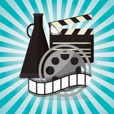 Cinema film reel strip with speaker design. Vector illustration eps 10 Royalty Free Stock Photo